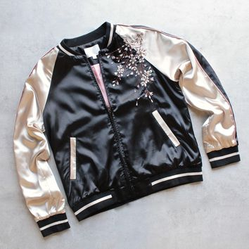 Floral Embroidered Satin Souvenir Bomber Jacket