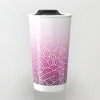 Ombre pink and white swirls zentangle Travel Mug by Savousepate