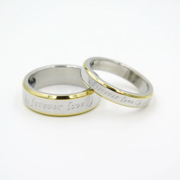 2pcs,his and hers rings, couple ring set, his and her promise rings, yellow forever love ring,free engraving