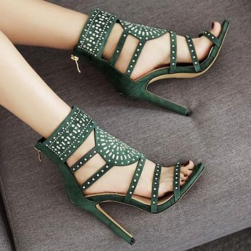 Fashion women's shoes open toe water drill slim super high heel sandals