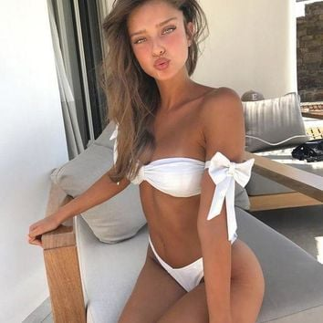 Sexy Strapless Pure White Bow Strapless Off Shoulder Strappy Two Piece Bikini Swimsuit Swimwear I