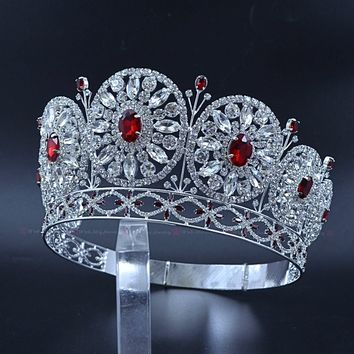 Rhinestone Round Circles High Bridal Wedding Tiara Crown Pageant Stage Cosplay Hair Jewelry