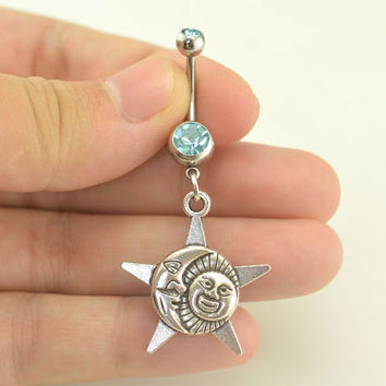 belly button jewelry sun moon star bellyring 14g belly button piercing, belly ring