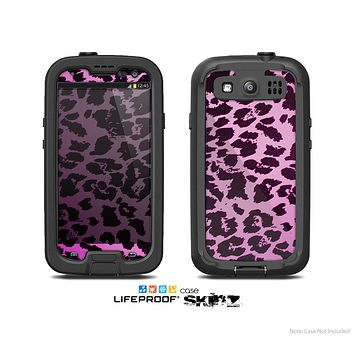 The Hot Pink Vector Leopard Print Skin For The Samsung Galaxy S3 LifeProof Case