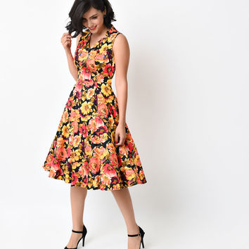 1950s Style Yellow Floral Marigold Swing Dress