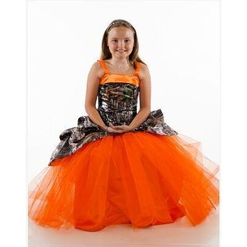 2017 flower girl dresses camouflage pageant gowns long camo kid evening gowns free shipping