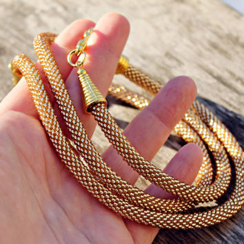 Gold Color Bead Crochet Rope Necklace and rope bracelet with Gold imitation, Gift for Her, Christmas gift, Beadwork, Handmade Jewellery