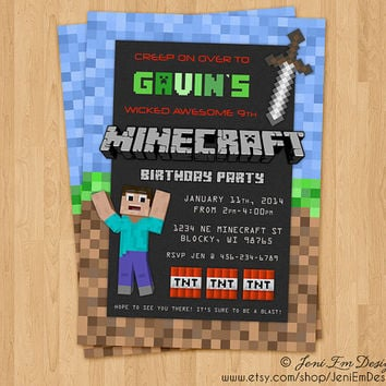 Minecraft Birthday Party Invitation - Printable, DIY, Digital, Steve, Sword