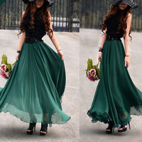 women's Jade green silk Chiffon 8 meters of skirt circumference  long dress maxi skirt qz02
