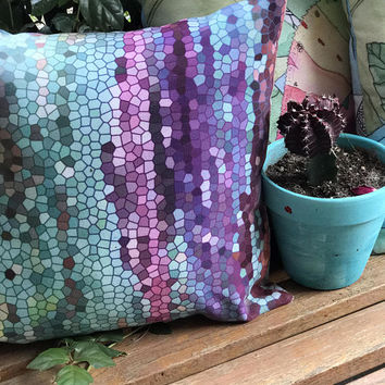 Outdoor Throw Pillow, Morning Mosaic, decorative pillow,  Outdoor decor, patio pillows, cushions, garden, poolside, purple, teal