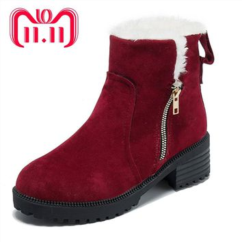 Moxxy Warm Snow Boots 2018 New Arrival Heels Winter Boots Women Ankle Boots Women Shoes Rubber Plush Insole Fur Shoes Woman