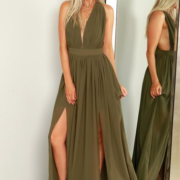 Twisted Halter Maxi Dress Olive