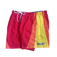 Tommy Hilfiger Swim Trunks Shorts Vintage 90s Hip Hop Clothing Swimwear Color Block Board Shorts Logo Red Yellow Orange