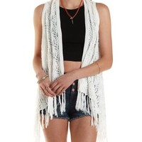 Ivory Open Knit Fringe Sweater Vest by Charlotte Russe