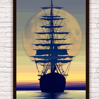 Nautical Pirate Ship Sailing into the Sunset w/ Full Moon // Beachy Poster Print