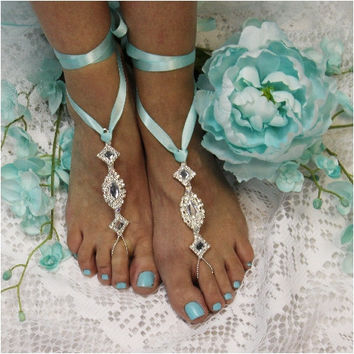 ENCHANTED wedding barefoot sandals - tiffany blue