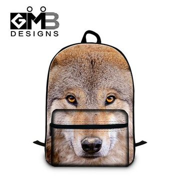 Boys bookbag trendy New Wolf Printed Backpacks for Men,College Students Cool s,Fashionable Day Pack for Boys,Children's laptop back pack bags AT_51_3