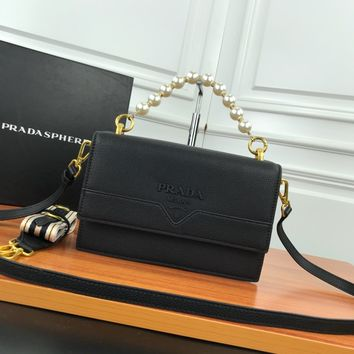 HCXX 19June 503 Prada Milano Pearl Belt Flipping double barrier Inclined shoulder bag 23-15-7 black