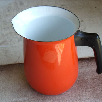 Vintage 1970s Graniteware Enamelware Red Orange White Intrior Black Handle Measure Water Or Milk Pitcher Country Kitchen