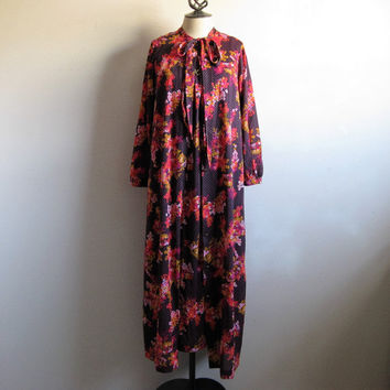 Vintage 70s Floral Peignoir 1970s Navy Blue Pink 2 pc Maxi Night Gown and Jacket Small