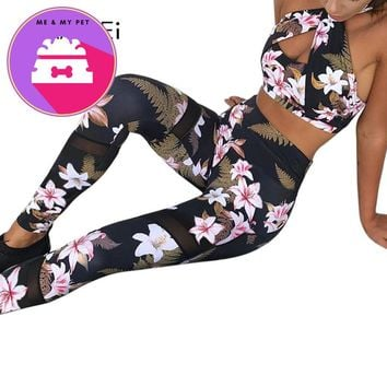 Laamei Floral Printed Women Two Piece Sets Halter Sexy Criss-cross Tracksuits Lady Female Fashion Clothing Short Top Pants Suits