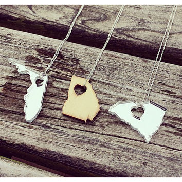Laser Cut State Necklaces