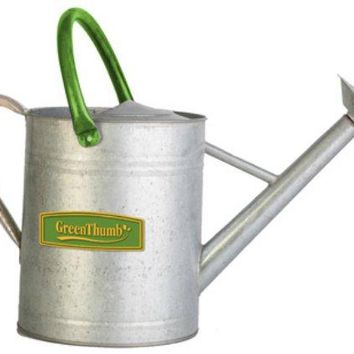 Green Thumb 84884TV Vintage Galvanized Watering Can with Logo, 2 Gallon