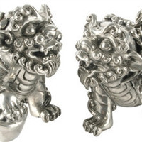 Pewter Foo Dog Salt and Pepper Shaker