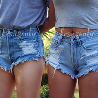 Levis high waisted denim shorts distressed shredded Hipster soft Grunge festival clothing