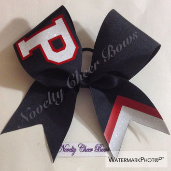 Monogram letter with Glitter Black Cheer Bow (pick letter and color in comment section)