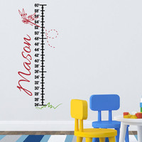 Personalized Growth Chart Decal - Vinyl Name Wall Decal with Dragonfly and Happy Trail - Baby Girl Boy Nursery Room Wall Art 38H x 16W GC001