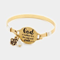 """God is Within Her."" Gold Plated Hook Bracelet"