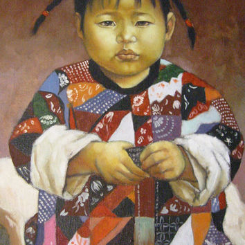 Chinese Child Portrait Oil On Canvas Gilt Wood Frame