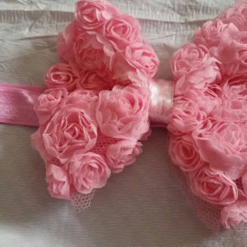 Pink Rosettes Bow Stretch Headband for a Newborn or Infant