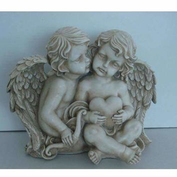 "16.25"" Sitting Cherub Angels Holding a Heart and Bow Outdoor Garden Statue"