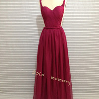 Sleeveless prom chiffon prom dress/wine long evening dress/simple evening dresses/2014 New Arrive wine color dresses