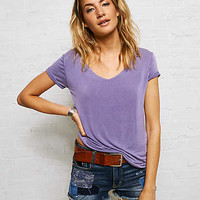 Don't Ask Why Raw Edge V-Neck T-Shirt, Purple