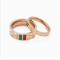 GUCCI women's fashionable gold-plated jewelry ring F