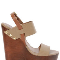 Soda Chef Stone Taupe Wooden Platform Wedge Sandals
