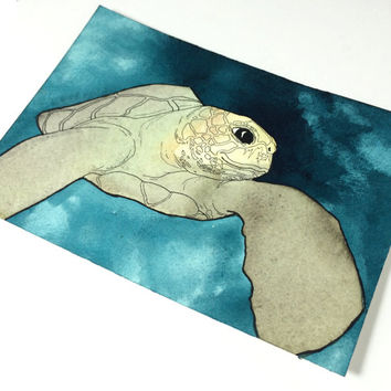 Sea Turtle Wall Art, Sea Turtle Decor, Sea Turtle Watercolor, Sea Turtle Painting, Ocean Painting, Original Watercolor Art, Original Artwork