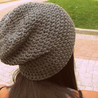 Grey crochet hat,gray hat,gray slouch hat,grey slouch beanie,slouchy beanie,woman hat,man hat,winter hat