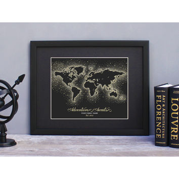 Personalized World Map Print - Black/Gold Dots