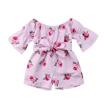 Fancy Pretty Toddler Girl Princess Romper Floral Print Off Shoulder Bow Knot Belt Jumpsuit Summer Clothes Long Sleeve Rompers
