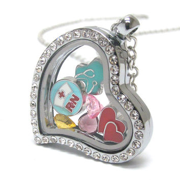 Heart Charm Locket for Nurse RN