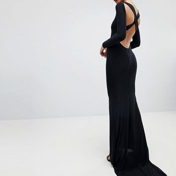 Outrageous Fortune Long Sleeve Cross Back Fishtail Maxi Dress at asos.com