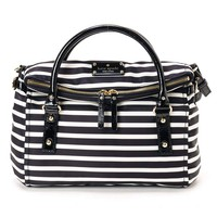 Kate Spade PXRU3236-017 Women's Nylon Stripe Small Leslie Black/Cream Shoulder Bag