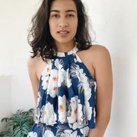 CALISTA FLOW TOP- BLUE FLORAL