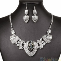 Rhinestone Choker chain necklace earrings jewelry set