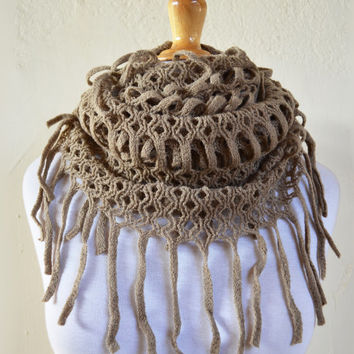 """Womens scarf """"Collette"""" in TAUPE with long fringe - shawl neckwarmer - accessories"""