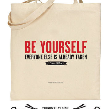 Organic Eco Cotton Tote Bag Be Yourself by ThingsThatSing on Etsy